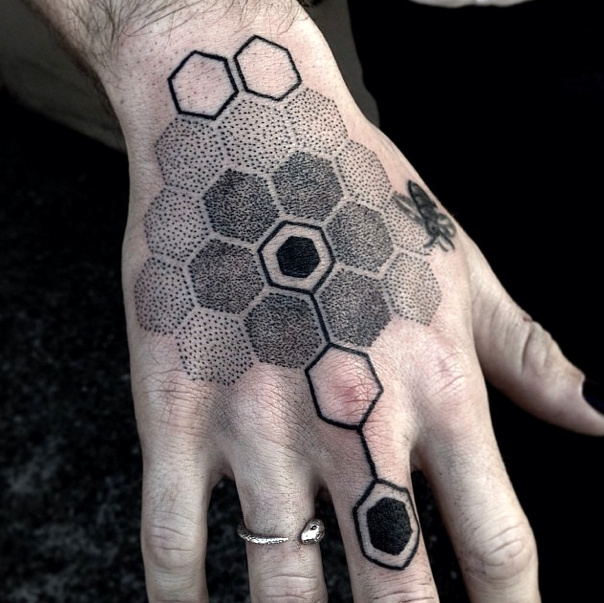Dotwork honeycomb tattoo