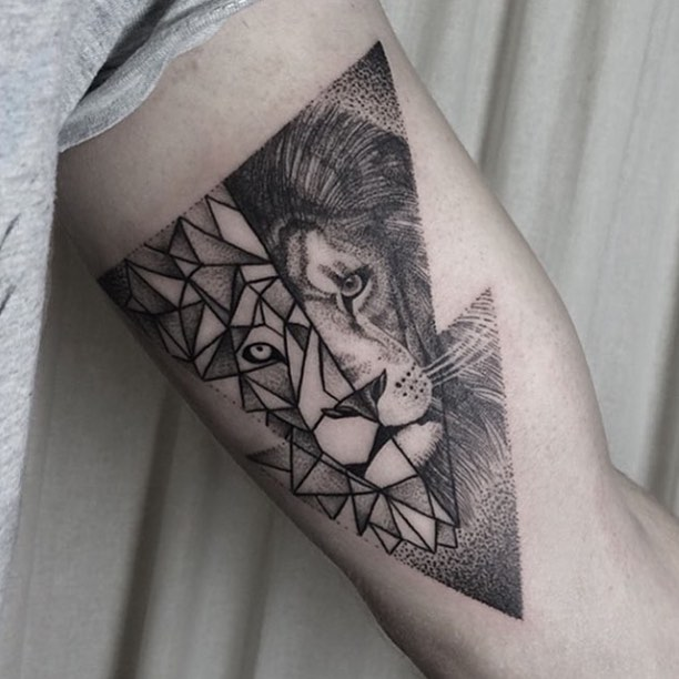 Lion tattoo in a triangle