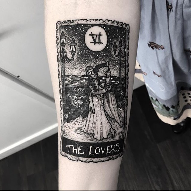 Tarot card the lovers tattoo