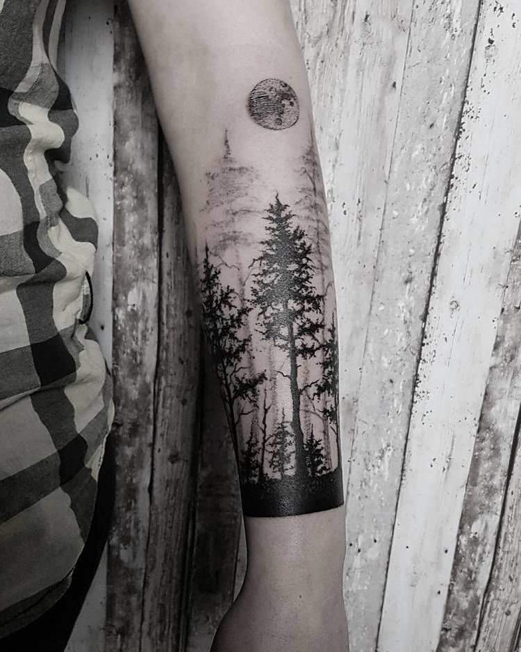 Black forest and a moon tattoo