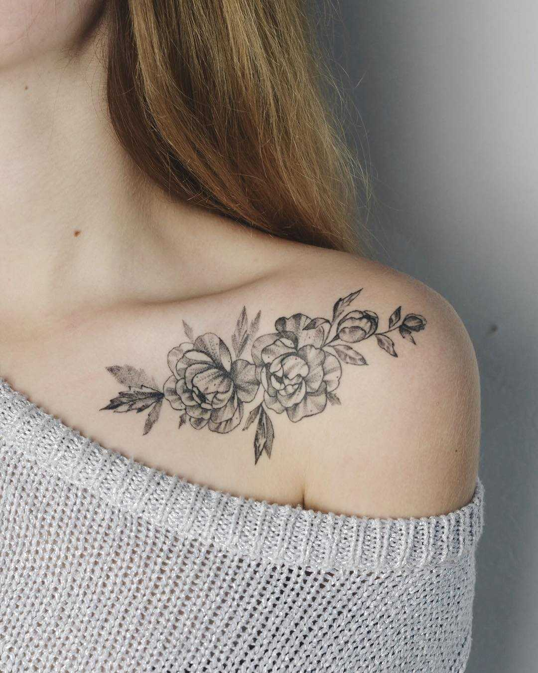 Floral Tattoo On A Collarbone Tattoogridnet