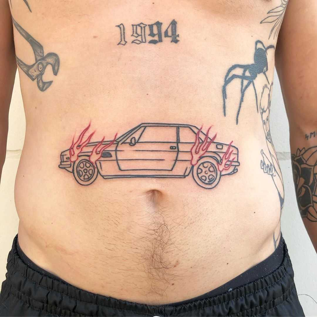 Burning car tattoo by Hand Job Tattoo