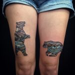 Bear tattoos on thighs