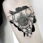 Black flower and triangle tattoo