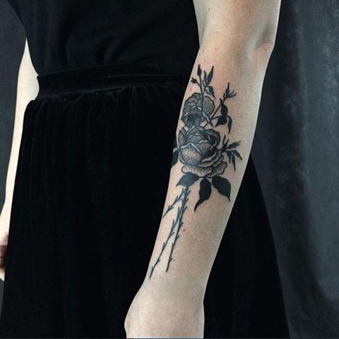 Black rose bouquet tattoo