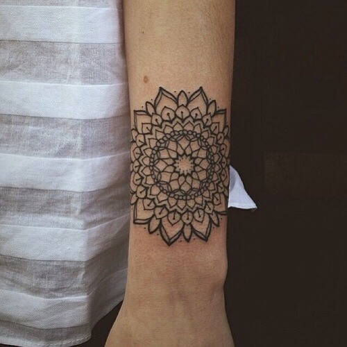 Black simple mandala tattoo