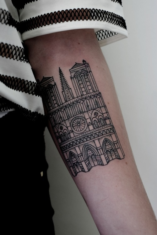 Cathedral tattoo on the arm