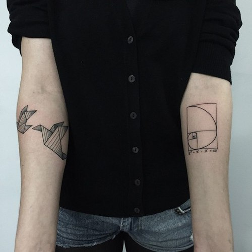 Crane and golden ratio tattoo