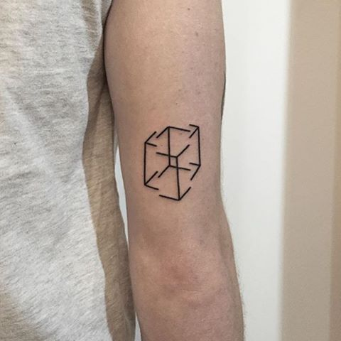 Deconstructed cube tattoo