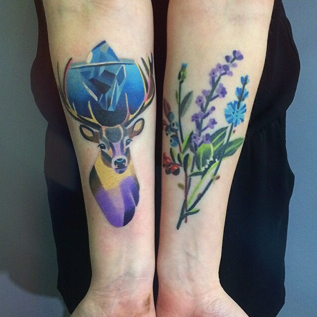 Deer and flower tattoo on the arms