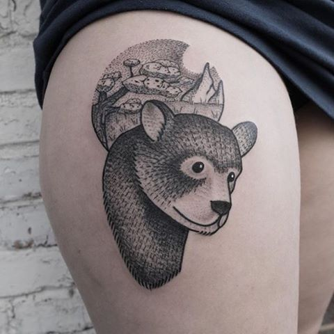 Dotwork bear tattoo