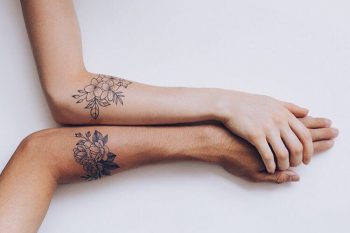 Flower tattoo for a couple