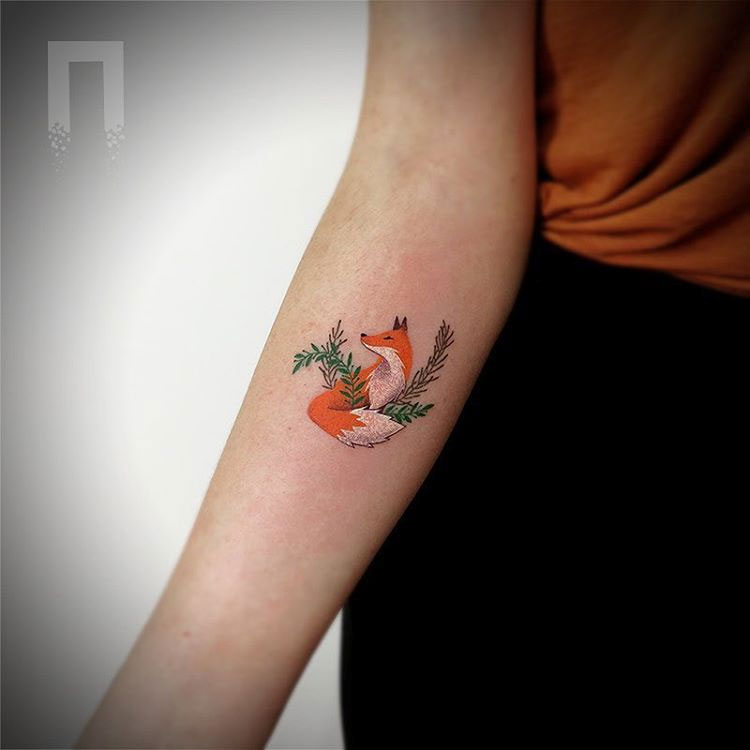 Fox in the bushes tattoo