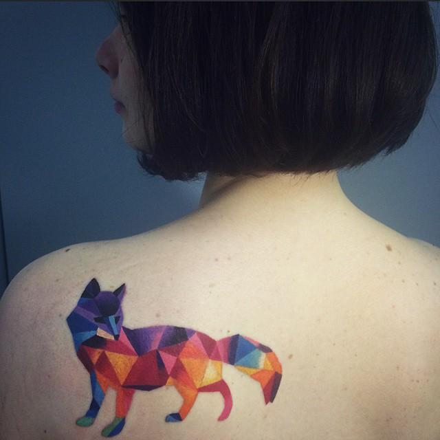 Geometric colorful fox tattoo