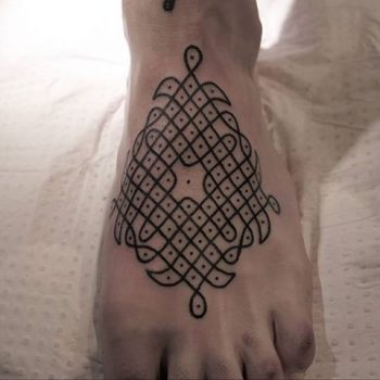 Geometric tattoo on the foot
