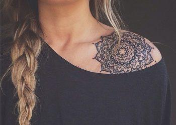 Gorgeous mandala tattoo on the left shoulder