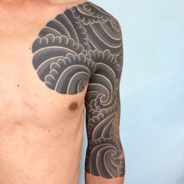 Japanese style black tattoo