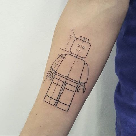 Lego man tattoo