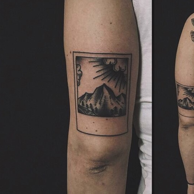 Mountain scenery tattoo