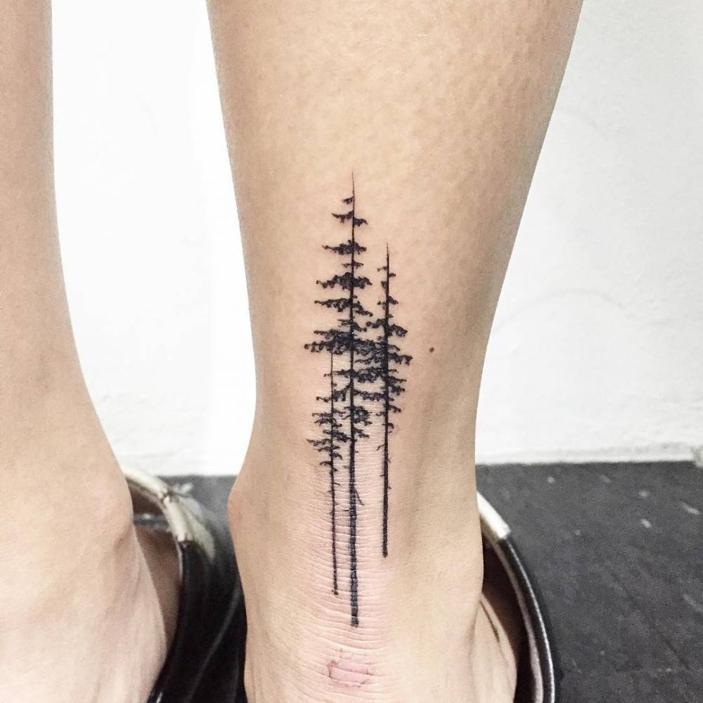 Pine tree tattoo an ankle