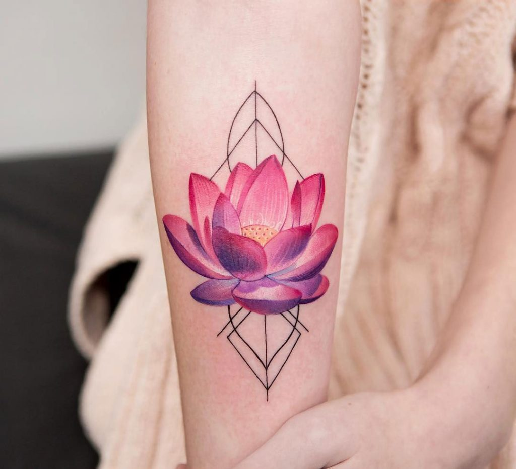 Pink Lotus Flower Tattoo On The Arm Tattoogrid