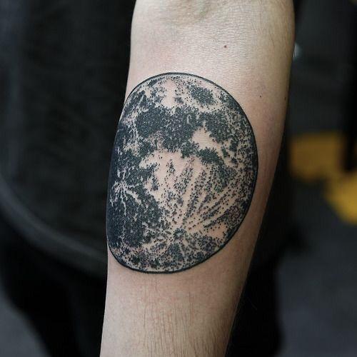 Realistic moon tattoo