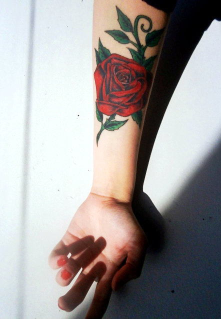 Red Rose Tattoo With Green Leaves Tattoogridnet