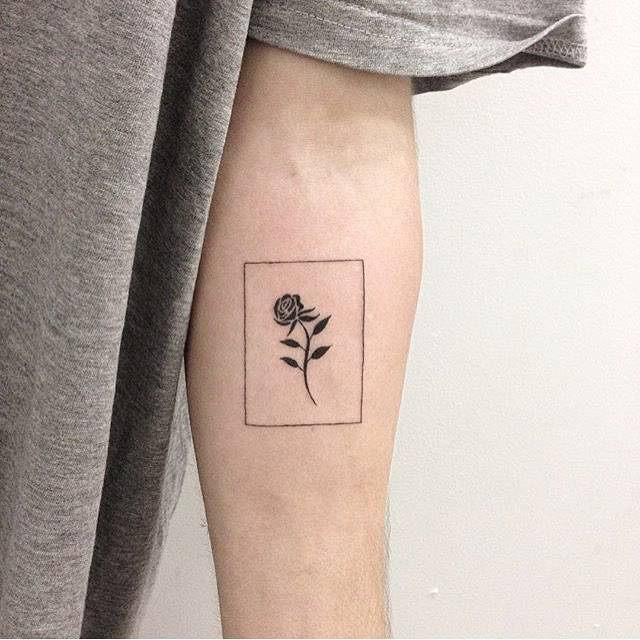 Rose in a rectangle tattoo