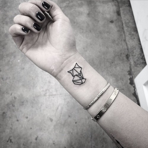 Small geometric fox tattoo