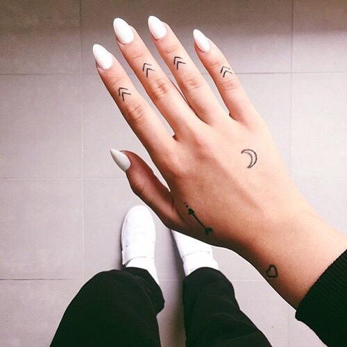 Tiny tattoos on the hand
