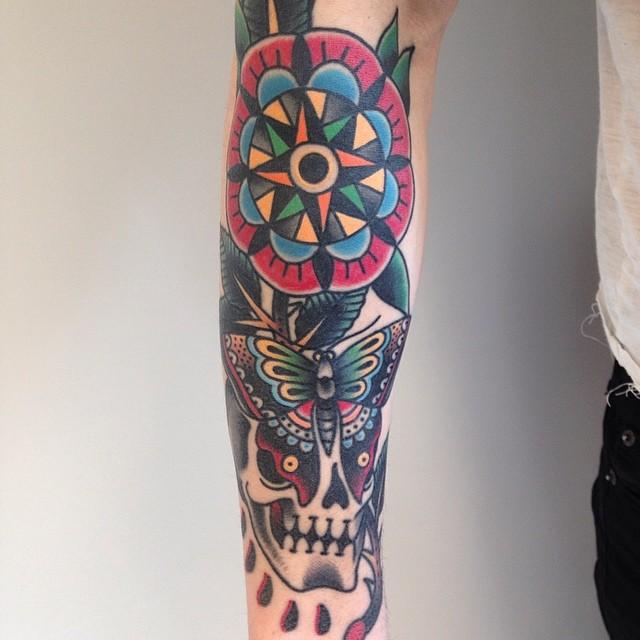 Traditional arm tattoo