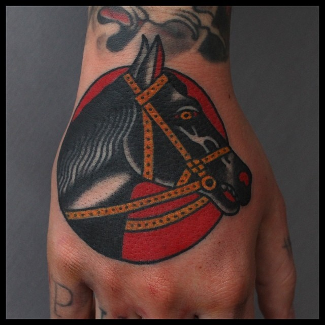 Traditional horse tattoo
