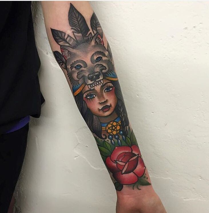 Traditional style tattoo on the arm