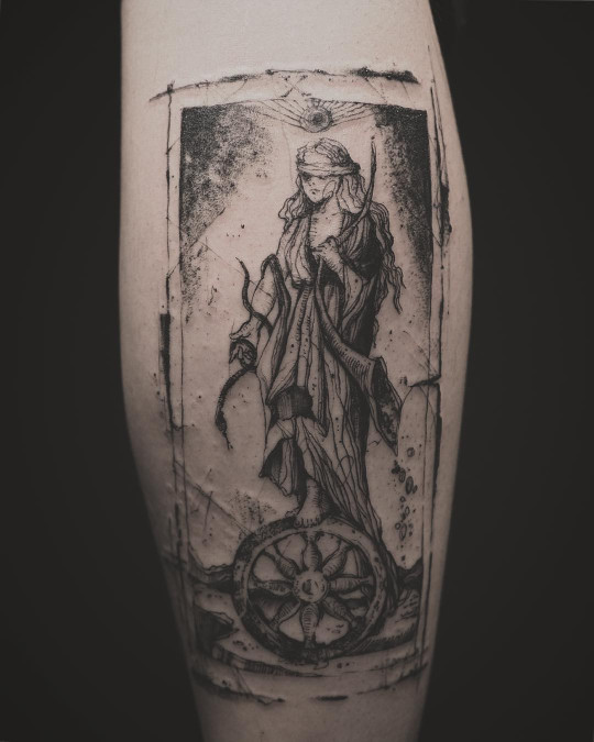 Wheel of Fortune Tarot Card Tattoo