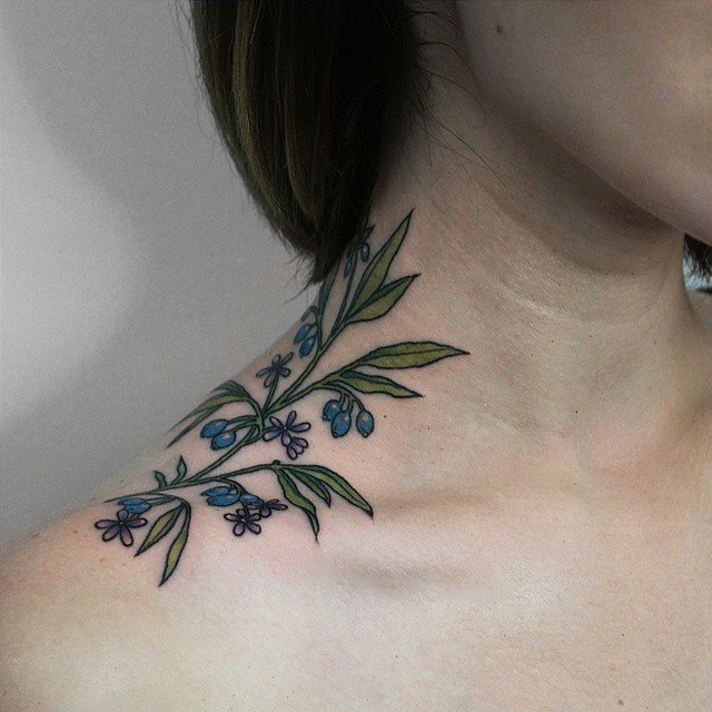 Wildflower tattoo on the neck