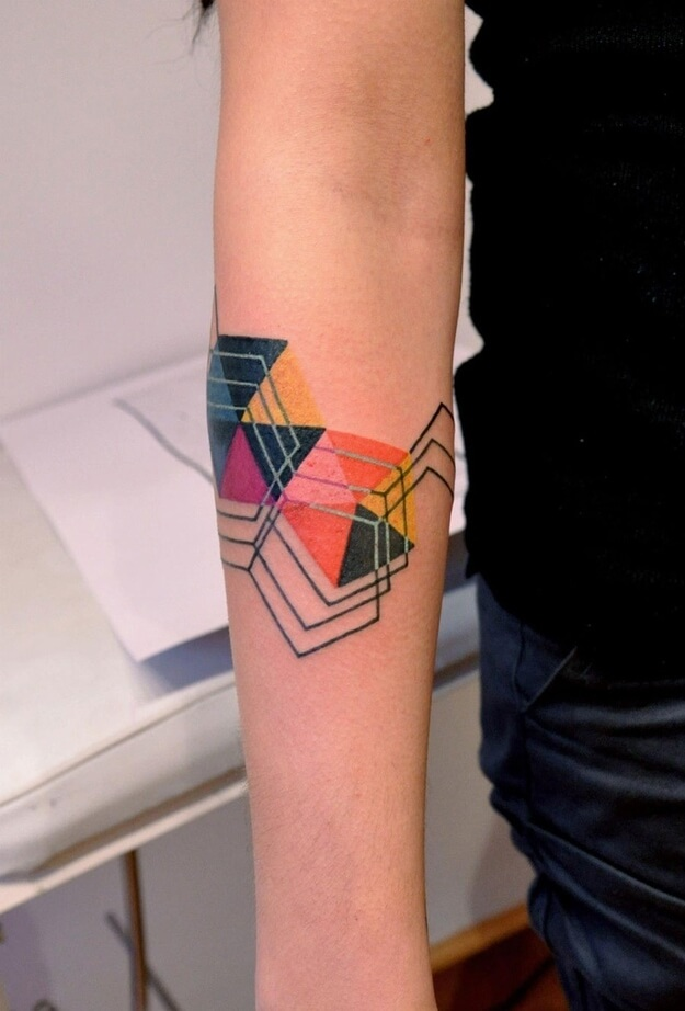 Abstract colorful geometric tattoo