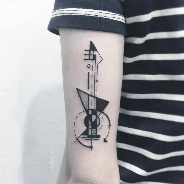 Abstract guitar tattoo