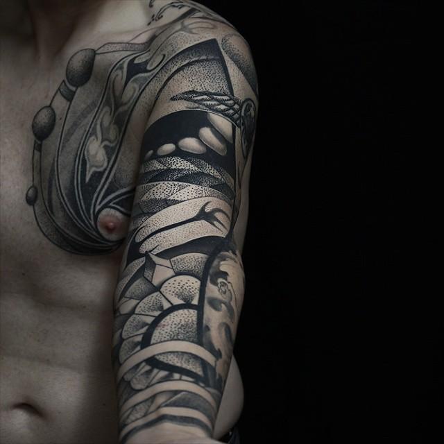 Abstract sleeve tattoo