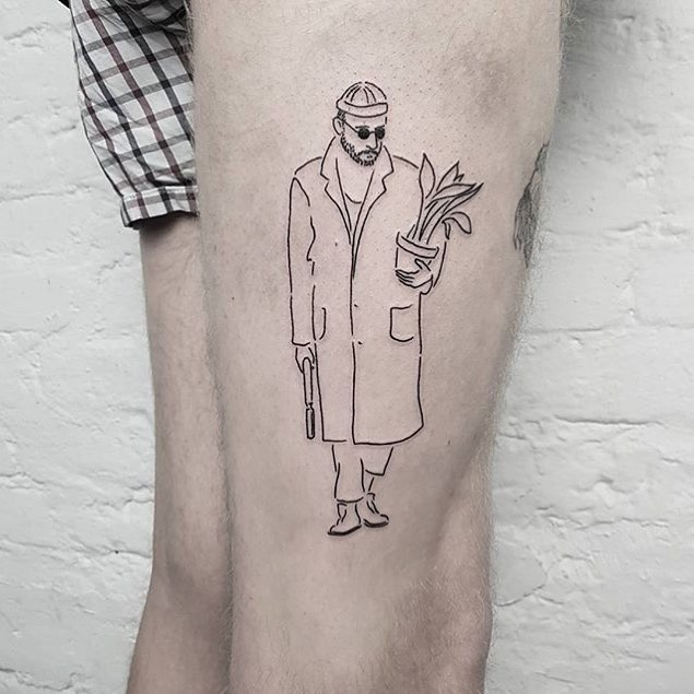 An outline guy with a pot and a gun tattoo