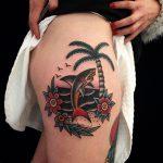 Beach and fish tattoo