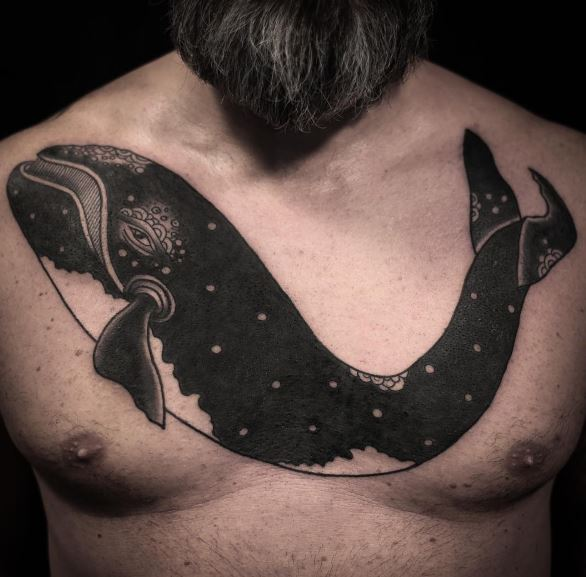 Big black whale tattoo