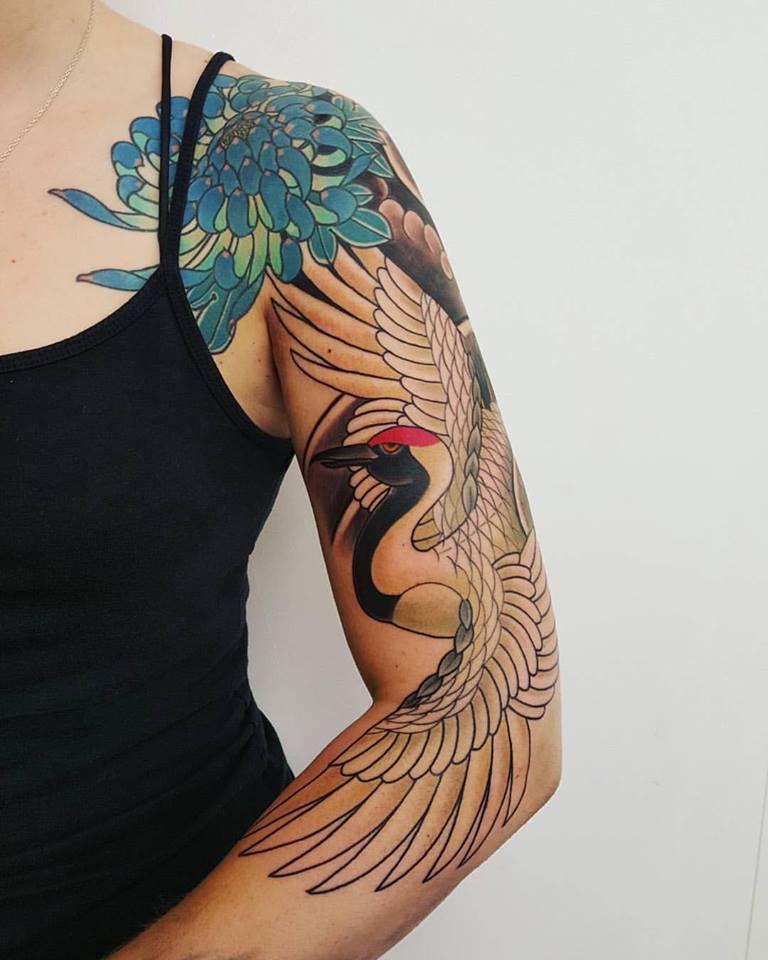 Bird sleeve tattoo