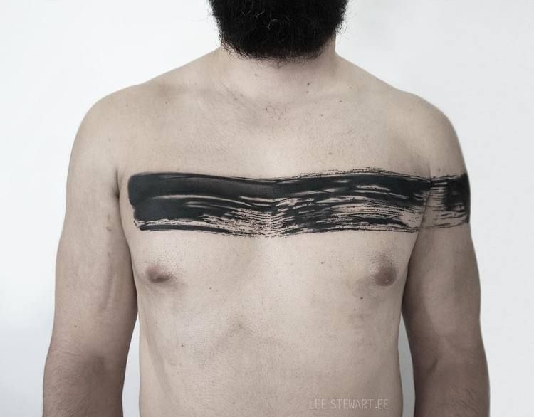 Black paintbrush strok line tattoo