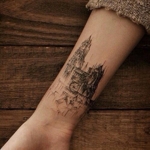 Church tattoo on the wrist