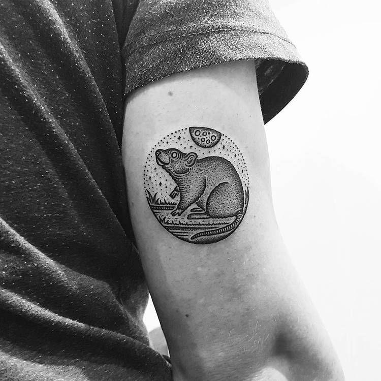 Circular opossum tattoo