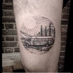 Circular school bus tattoo