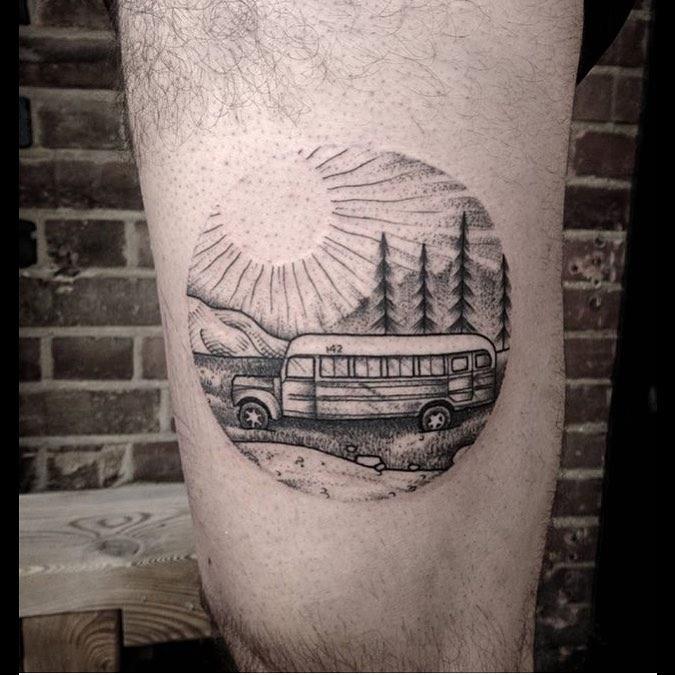 Circular school bus tattoo