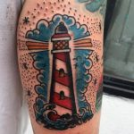Classic lighthouse tattoo