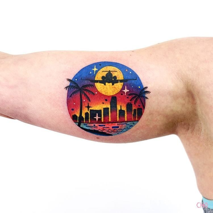 Coastal city image tattoo