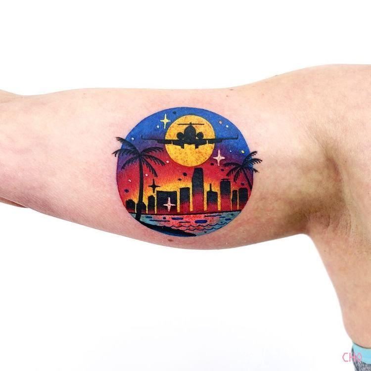 Coastal city image tattoo